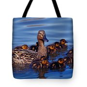 Female Mallard Duck With Chicks Tote Bag