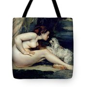 Female Nude With A Dog Tote Bag by Gustave Courbet