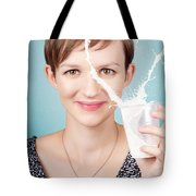 Female Nutritionist Showing Full Cream Milk Love Tote Bag