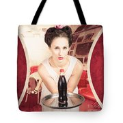 Female Postcard Pinup Girl In 60s Restaurant Tote Bag