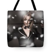 Female Showgirl Performing On A Theater Stage Tote Bag