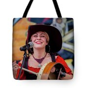 Female Stage Performer With Drum Tote Bag