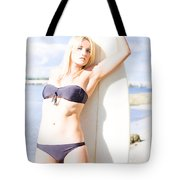 Female Surfer In Sun With Surf Board Tote Bag