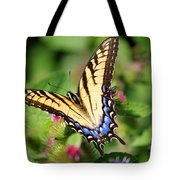 Female Tiger Swallowtail On Burdock Tote Bag