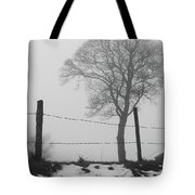 Fence And Fog Tote Bag