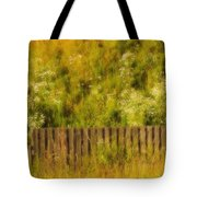 Fence And Hillside Of Wildflowers On Suomenlinna Island In Finland Tote Bag