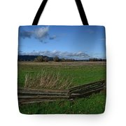 Fence And Open Field Tote Bag