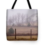 Fence Field And Fog Tote Bag