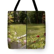Fence Full Of Roses - Cross Your Eyes And Focus On The Middle Image Tote Bag