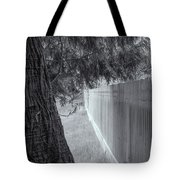 Fence In Black And White Tote Bag by Tom Singleton