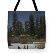Fence In Snow Tote Bag