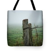 Fence Post And Fog Tote Bag