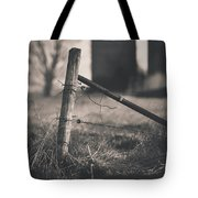 Fence Post In Black And White Tote Bag