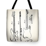 Fender Precision Bass Patent 1952 Tote Bag