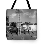 Fenway Park Green Monster Wall Bw Tote Bag