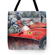 Ferrari Dino 246 F1 1958 Mike Hawthorn French Gp  Tote Bag by Yuriy  Shevchuk