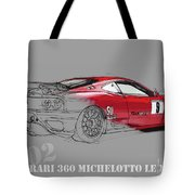 Ferrari Michelotto Race Car. Handmade Drawing. Number 9 Le Mans Tote Bag