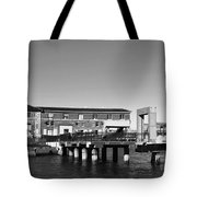 Ferry Building And Pinnacle Building - San Francisco Embarcadero - Black And White Tote Bag