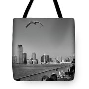 Ferry Ride To Statue Of Liberty Ny Nj Black Wht  Tote Bag