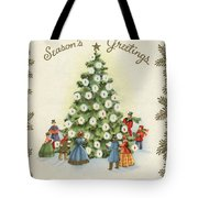 Festive Christmas Tree In A Town Square Tote Bag
