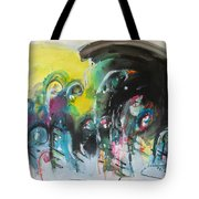 Fiddleheads 105- Original Abstract Colorful Landscape Painting For Sale Red Blue Green Tote Bag