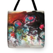 Fiddleheads- Landscape Painting For Sale Red Blue Green Tote Bag