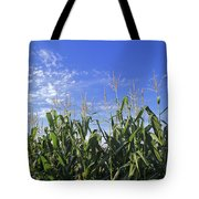 Field Of Corn Against A Clear Blue Sky Tote Bag