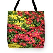 Field Of Red And Yellow Flowers Tote Bag
