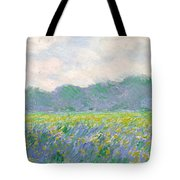 Field Of Yellow Irises At Giverny Tote Bag