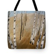 Field With Birches Tote Bag