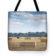 Field With Straw Bale And Center Pivot Sprinkler System Agricult Tote Bag