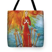 Fiery Eight Of Swords Illustrated Tote Bag