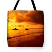 Fiery Lanikai Beach Tote Bag