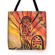 Fiery Nine Of Swords Illustrated Tote Bag