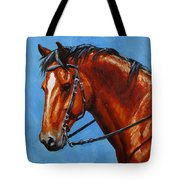 Fiery Red Bay Horse Tote Bag by Crista Forest