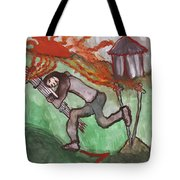 Fiery Seven Of Swords Illustrated Tote Bag