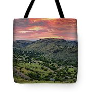 Fiery Sunset Panorama Over Davis Mountains State Park - Keesey Canyon Blue Mountain Limpia Canyon - Tote Bag