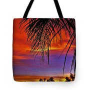 Fiery Sunset With Palm Tree Tote Bag