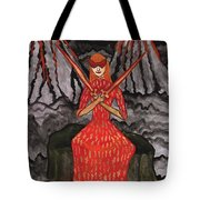 Fiery Two Of Swords Illustrated Tote Bag