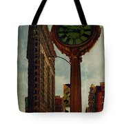Fifth Avenue Clock And The Flatiron Building Tote Bag