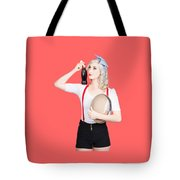 Fifties Diner Pin-up Waiter Serving Soft Drink  Tote Bag
