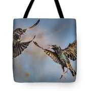Fighting  Starlings Tote Bag