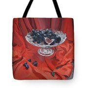 Figs And Grapes On Red  Tote Bag