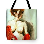 Figure In Red Tote Bag
