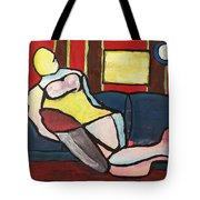 Figure On Couch Tote Bag