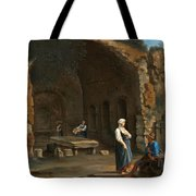 Figures At The Cave Of Egeria Tote Bag