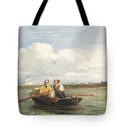 Figures In A Boat On The Thames, Gravesend Tote Bag