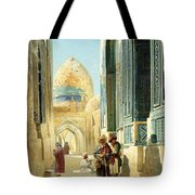 Figures In A Street Before A Mosque Tote Bag