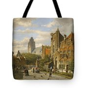 Figures In The Streets Of A Wintry Dutch Town Tote Bag
