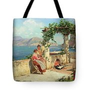 Figures On A Terrace In Capri Tote Bag